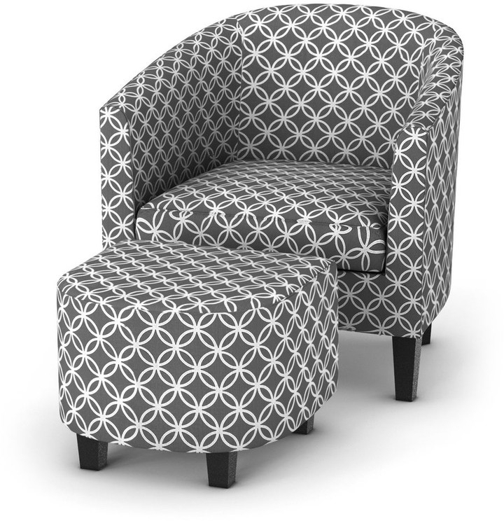 Porch & Den Brust Grey Print Club Chair With Ottoman For Riverside Drive Barrel Chair And Ottoman Sets (View 14 of 20)