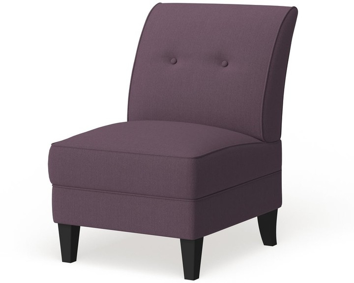 Porch & Den Pope Street Amethyst Purple Linen Armless Chair For Claudel Polyester Blend Barrel Chairs (View 14 of 20)