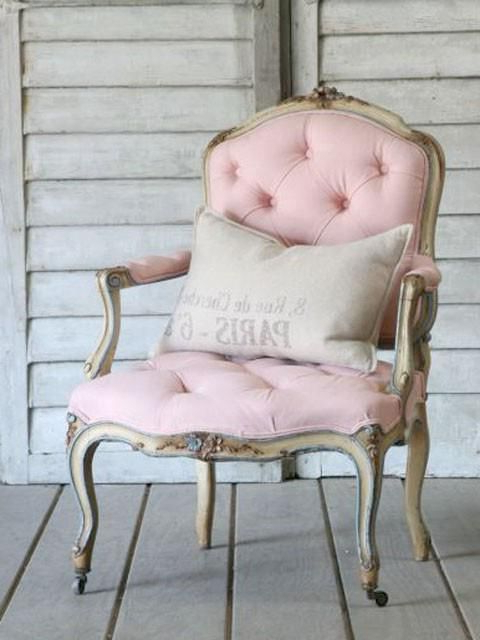 Pretty Pink Arm Chair With Pillow; Elegant Cottage Style Pertaining To Leppert Armchairs (View 10 of 20)