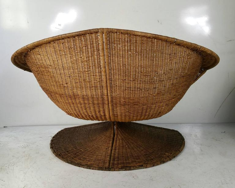 """Rare Danny Ho Fong Wicker """"lotus"""" Lounge Chair, 1960s Within Danny Barrel Chairs (set Of 2) (View 16 of 20)"""