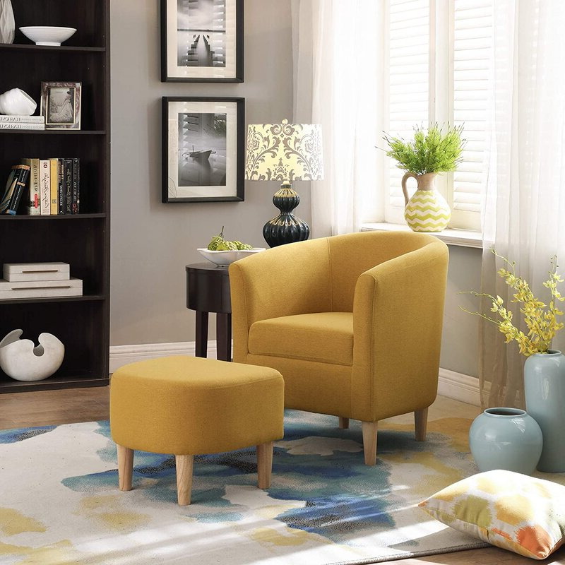 Red Barrel Studio Modern Accent Chair, Upholstered Arm Chair Linen Fabric Single Sofa Chair With Ottoman Foot Rest Mustard Yellow With Munson Linen Barrel Chairs (View 8 of 20)