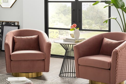 Red, Chairs Room Design Ideas | Joss & Main Throughout Roswell Polyester Blend Lounge Chairs (View 15 of 20)