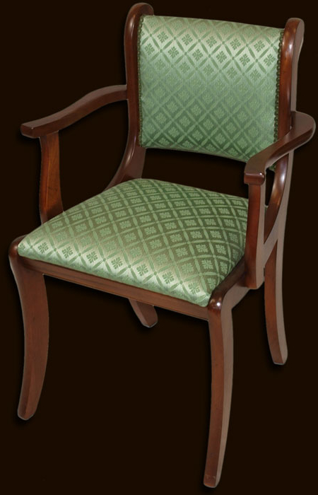 Reproduction Fully Upholstered Sabre Leg Dining Chair In Yew Regarding Carlton Wood Leg Upholstered Dining Chairs (View 14 of 20)