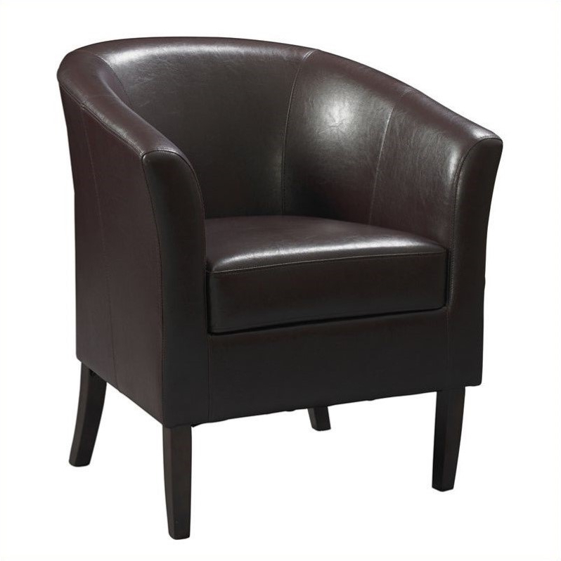 Riverbay Furniture Faux Leather Club Barrel Chair In Blackberry – Walmart Inside Faux Leather Barrel Chairs (View 2 of 20)