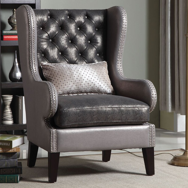 """Roche 31"""" W Tufted Wingback Chair In Sweetwater Wingback Chairs (View 4 of 20)"""