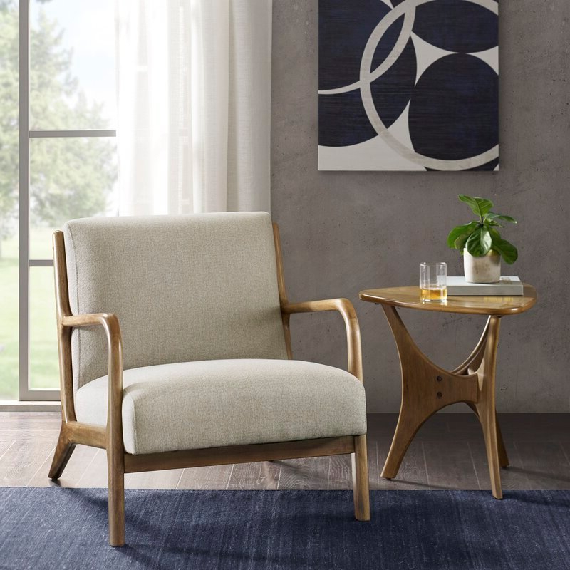 Ronaldo Armchair, Taupe Intended For Ronaldo Polyester Armchairs (View 7 of 20)