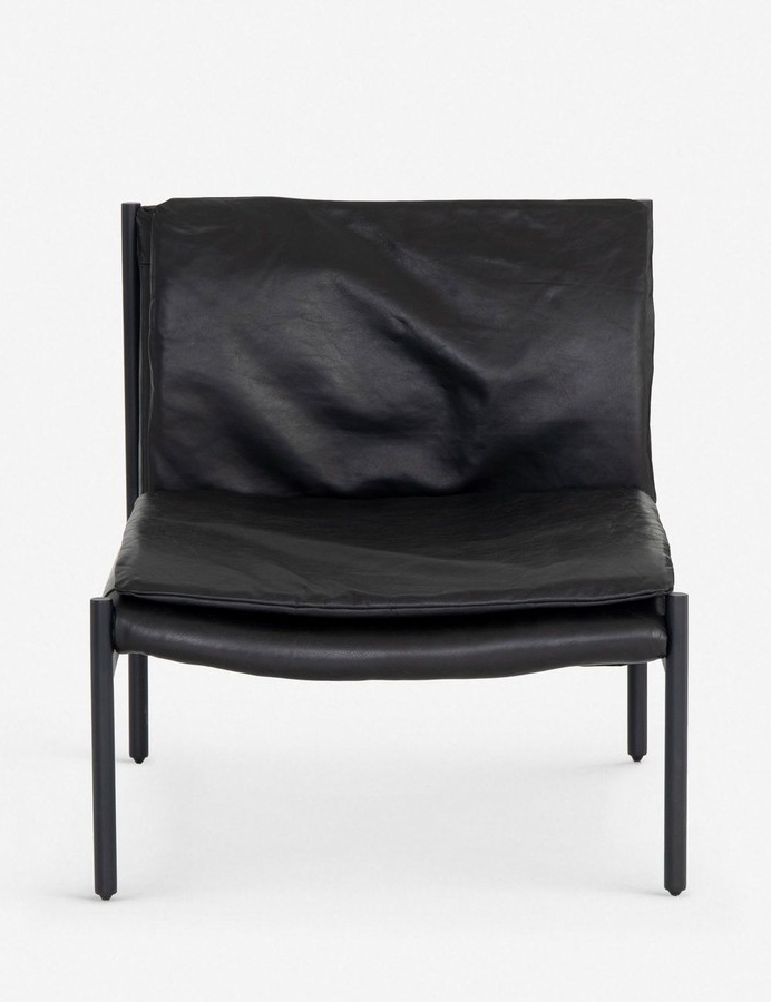 Ronella Leather Accent Chair, Aged Black With Regard To Liston Faux Leather Barrel Chairs (View 15 of 20)