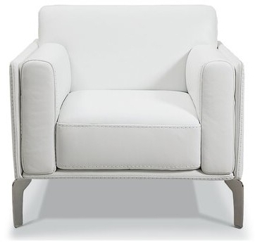 """Rosado 35"""" W Full Grain Leather Armchair Upholstery Color: White Genuine Leather In Blaithin Simple Single Barrel Chairs (View 15 of 20)"""