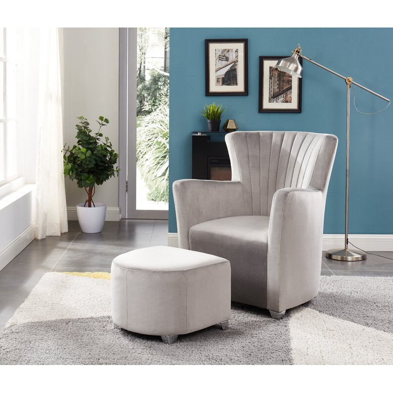 Ryanne Club Chair And Ottoman Inside Hallsville Performance Velvet Armchairs And Ottoman (View 15 of 20)