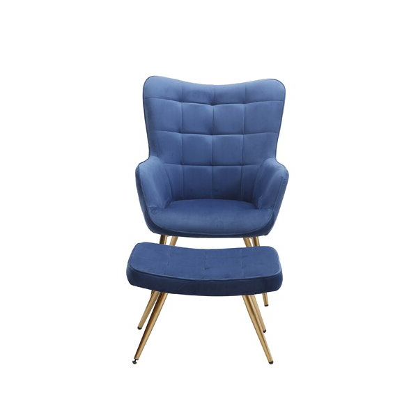 """Sau 29"""" W Tufted Velvet Wingback Chair And Ottoman Throughout Hallsville Performance Velvet Armchairs And Ottoman (View 17 of 20)"""