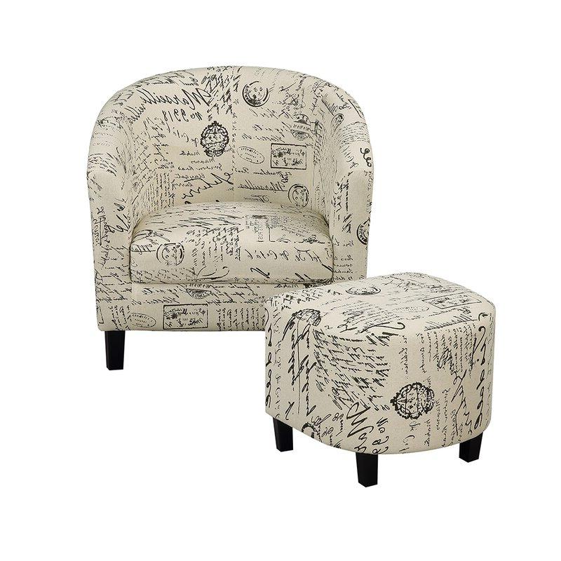 Savion Retro Living Room Barrel Chair And Ottoman With Briseno Barrel Chairs (View 8 of 20)