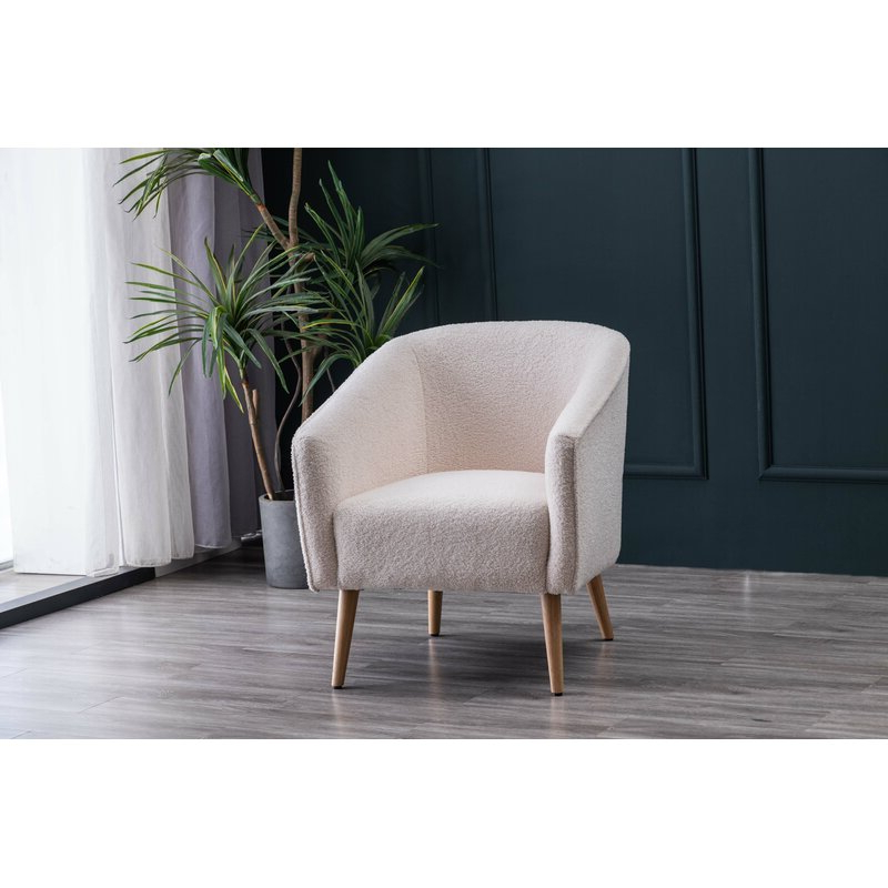Schooley Faux Shearling Barrel Chair Within Danow Polyester Barrel Chairs (View 8 of 20)