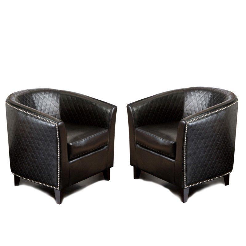 Set Of 2 Elegant Modern Design Black Leather Tub / Barrel For Danny Barrel Chairs (set Of 2) (View 13 of 20)