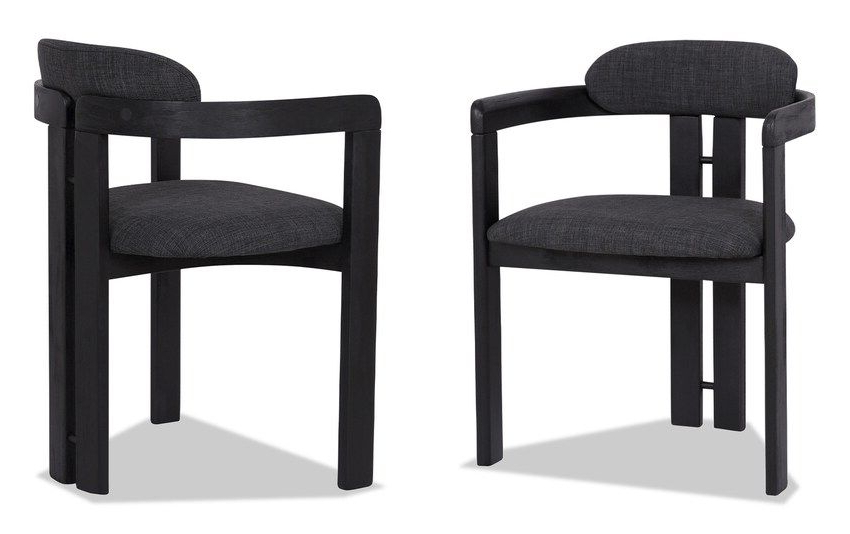 Set Of 2 Jazi Black Brushed Wood Dining Chairs | Dining For Bob Stripe Upholstered Dining Chairs (set Of 2) (View 20 of 20)