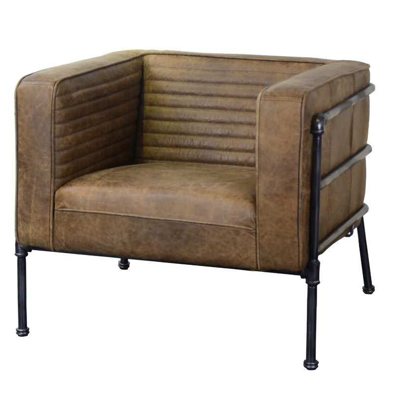 """Shearer 31"""" W Tufted Top Grain Leather Club Chair Inside Sheldon Tufted Top Grain Leather Club Chairs (View 4 of 20)"""