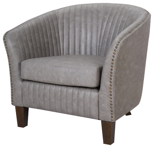 Shelton Contemporary Club Chair In Faux Leather Upholstery, Light Gray For Sheldon Tufted Top Grain Leather Club Chairs (View 10 of 20)