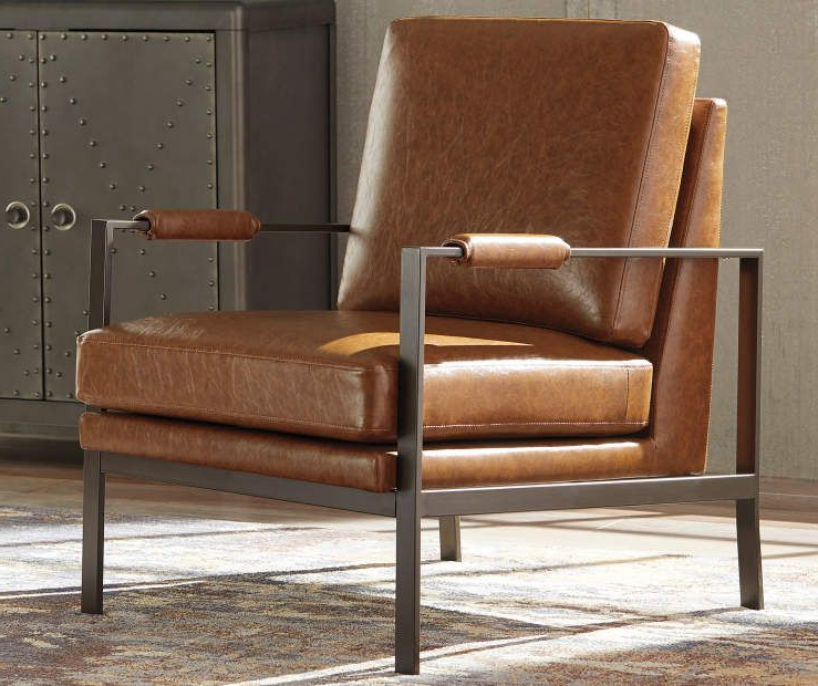 Signature Designashley Peacemaker Brown Faux Leather With Jarin Faux Leather Armchairs (View 6 of 20)