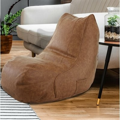 Small Faux Leather Bean Bag Chair & Lounger Upholstery Color: Cognac Faux Leather Inside Jarin Faux Leather Armchairs (View 12 of 20)