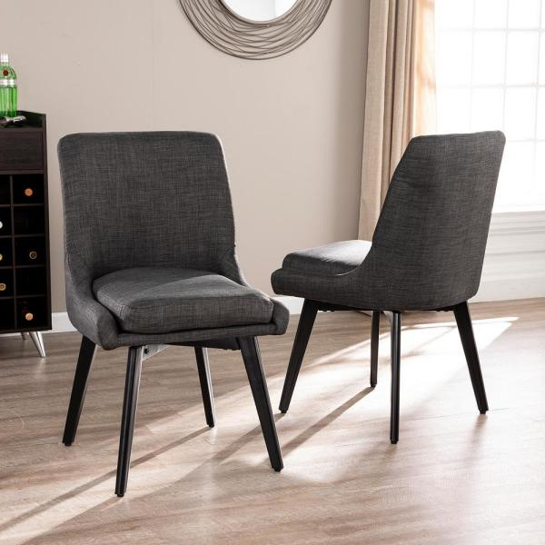 Southern Enterprises Selby Charcoal Gray And Black Swivel In Selby Armchairs (View 14 of 20)