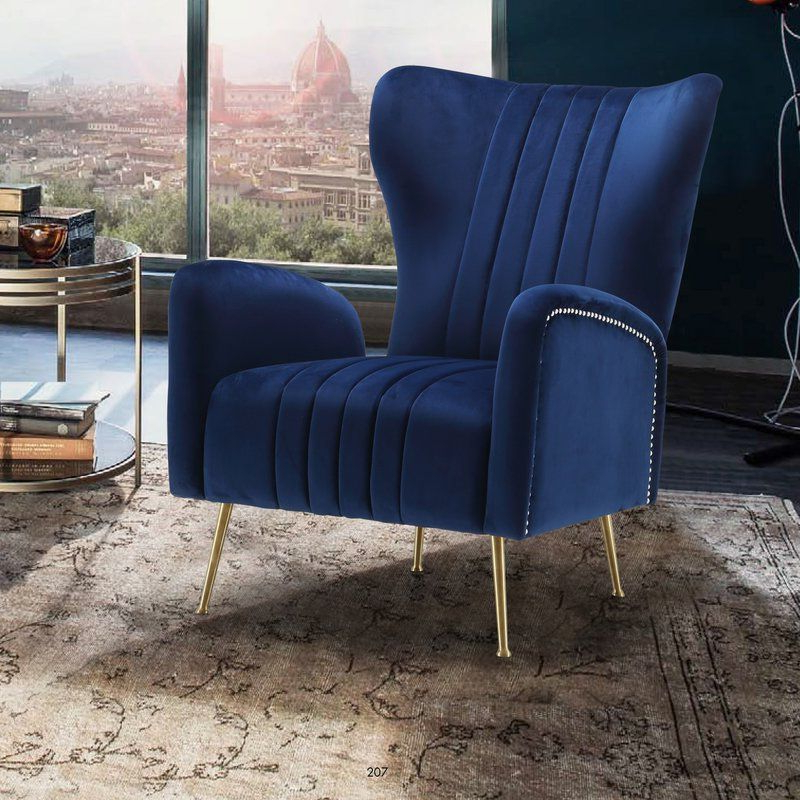 Spady Wingback Chair | Lounge Chairs Living Room, Velvet In Lauretta Velvet Wingback Chairs (View 8 of 20)
