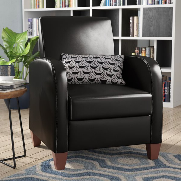 Square Sleek Leather Chair With Regard To Annegret Faux Leather Barrel Chair And Ottoman Sets (View 10 of 20)
