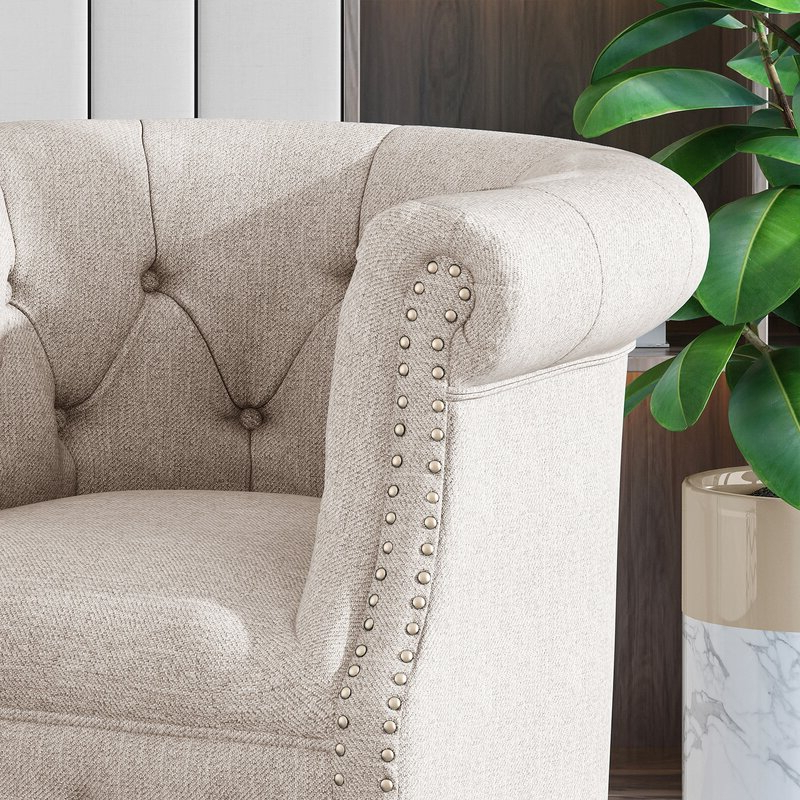 Starks Tufted Fabric Chesterfield Chair And Ottoman In Kjellfrid Chesterfield Chairs (View 13 of 20)