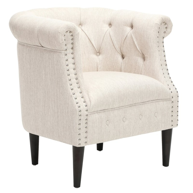 Starks Tufted Fabric Chesterfield Chair And Ottoman Intended For Kjellfrid Chesterfield Chairs (View 7 of 20)
