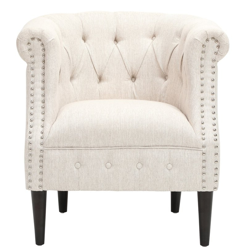 Starks Tufted Fabric Chesterfield Chair And Ottoman Intended For Kjellfrid Chesterfield Chairs (View 6 of 20)