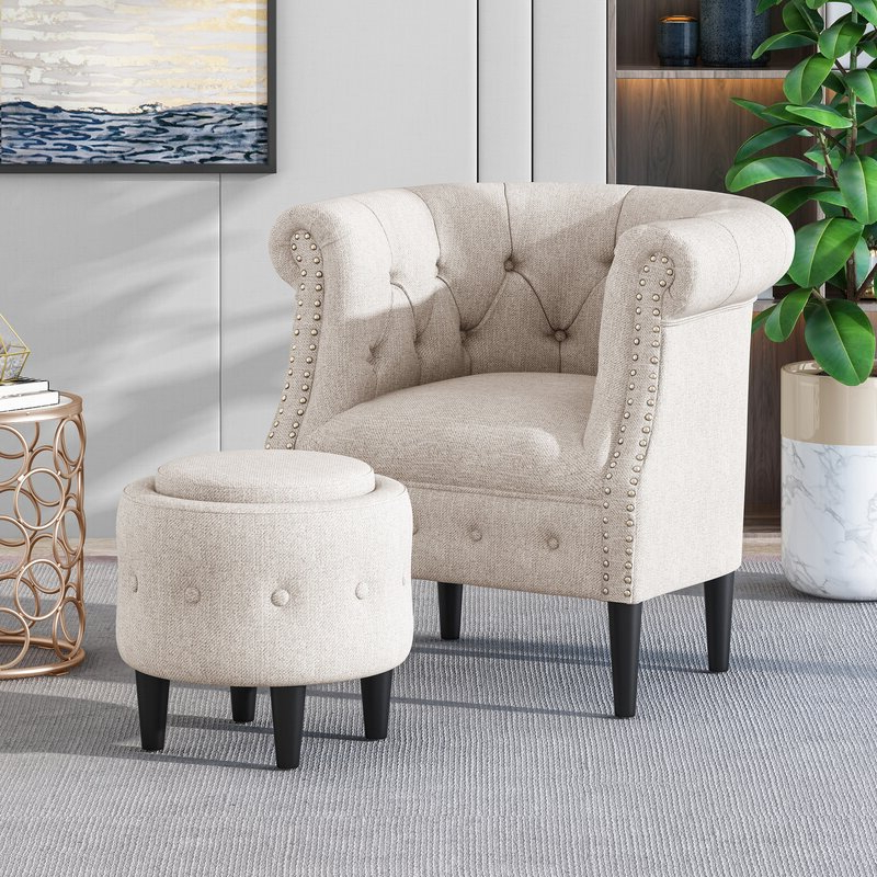 Starks Tufted Fabric Chesterfield Chair And Ottoman Regarding Kjellfrid Chesterfield Chairs (View 10 of 20)