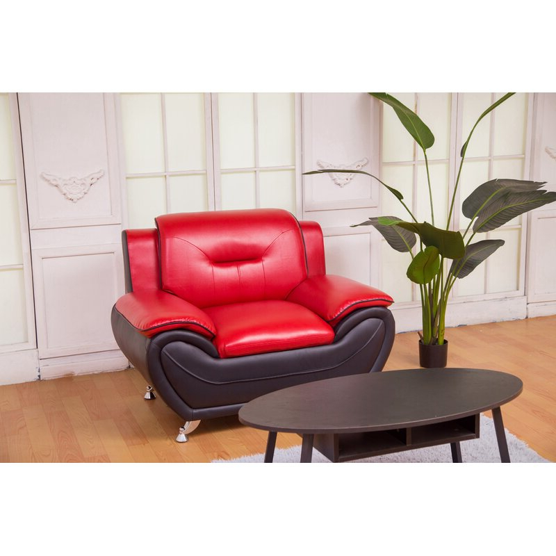 """Stclair 48"""" W Faux Leather Club Chair With Montenegro Faux Leather Club Chairs (View 3 of 20)"""