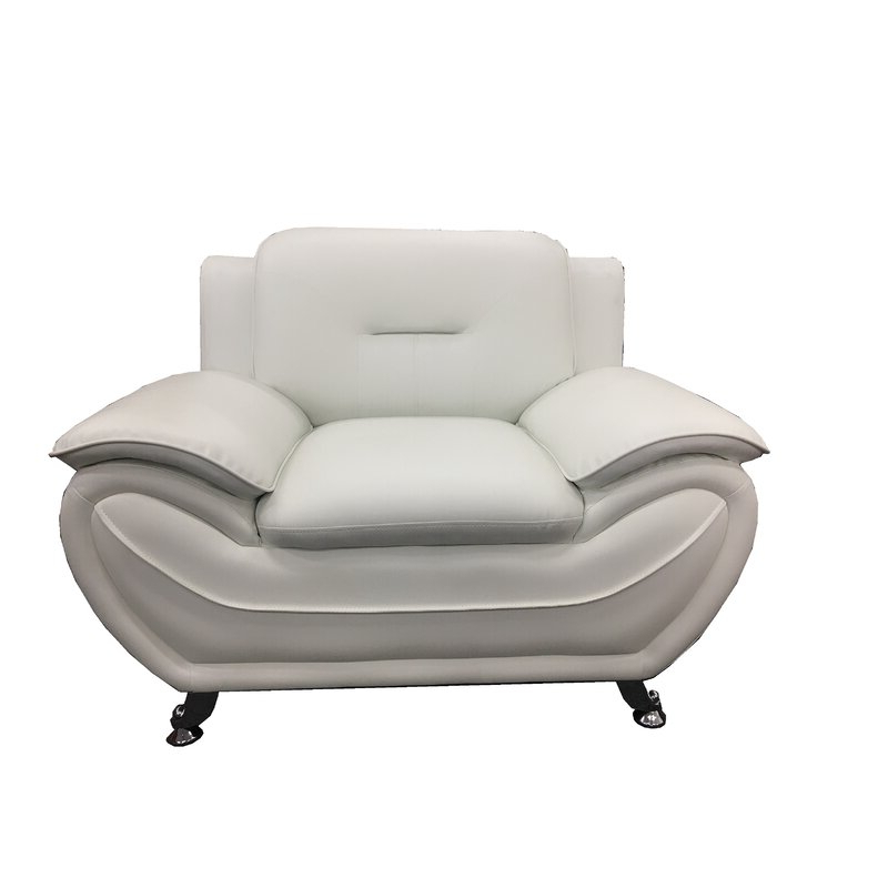 """Stclair 48"""" W Faux Leather Club Chair Within Montenegro Faux Leather Club Chairs (View 8 of 20)"""