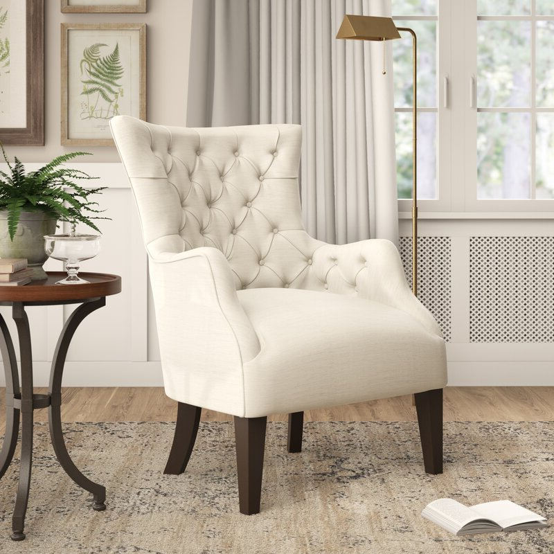 Steelton Button Wingback Chair With Regard To Allis Tufted Polyester Blend Wingback Chairs (View 12 of 20)