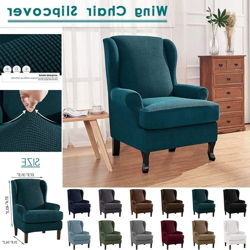Stretch Soft Slipcover Wing Chair Cover Wingback Armchair With Busti Wingback Chairs (View 13 of 20)