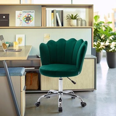 Swivel Shell Chair For Living Room/bed Room, Modern Leisure Office Chair Blue Upholstery Color: Green Throughout Vineland Polyester Swivel Armchairs (View 20 of 20)