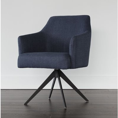 Taro Swivel Armchair Upholstery Color: Midnight Blue With Regard To Vineland Polyester Swivel Armchairs (View 13 of 20)