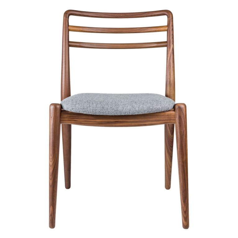 Tor Side Chair Walnut & Grey Wool Intended For Chiles Linen Side Chairs (View 8 of 20)