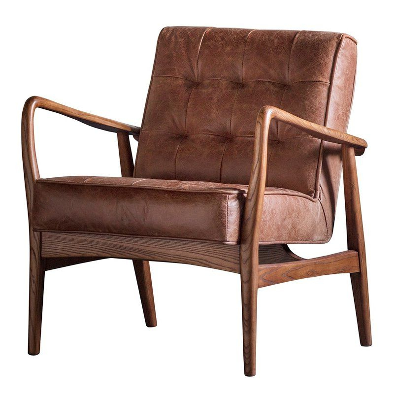 Travis Armchair | Brown Leather Armchair, Leather Armchair In Caldwell Armchairs (View 6 of 20)
