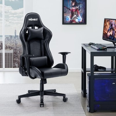 Tribesigns Reclining Ergonomic Faux Leather Swiveling Pc & Racing Gaming Chair In Black Tribesigns Intended For Hazley Faux Leather Swivel Barrel Chairs (View 8 of 20)