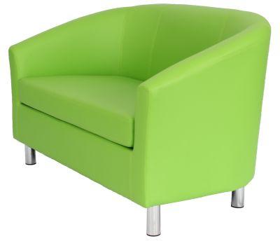Tritium Faux Leather Sofa – Chrome Feet Regarding Jill Faux Leather Armchairs (View 17 of 20)