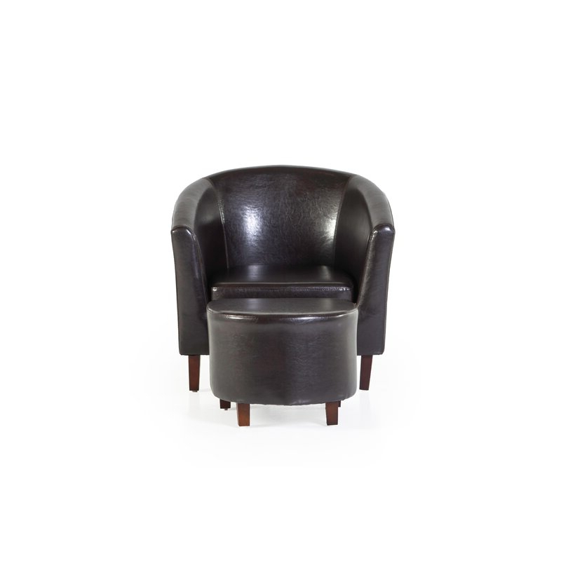 """Trumansburg 30"""" W Faux Leather Barrel Chair And Ottoman For Faux Leather Barrel Chair And Ottoman Sets (View 11 of 20)"""