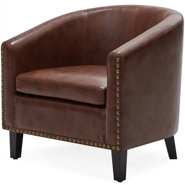 Tub Barrel Accent Chair Faux Leather, Brown Regarding Faux Leather Barrel Chairs (View 4 of 20)