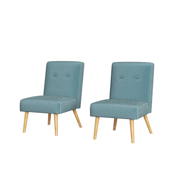 Tufted Armless Chair Pertaining To Chiles Linen Side Chairs (View 6 of 20)