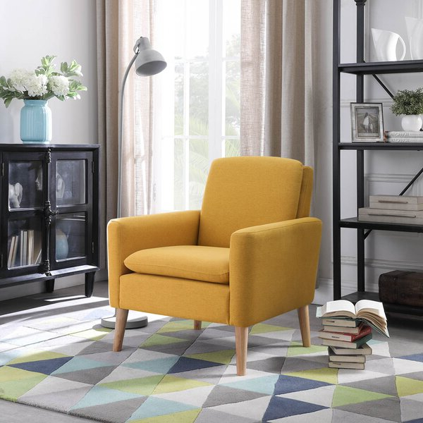 Upholstered Armchair Intended For Suki Armchairs By Canora Grey (View 3 of 20)