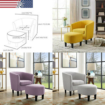 Upholstered Club Accent Chair With Curved Back Armchair With Ottoman Set Modern | Ebay Inside Modern Armchairs And Ottoman (View 18 of 20)