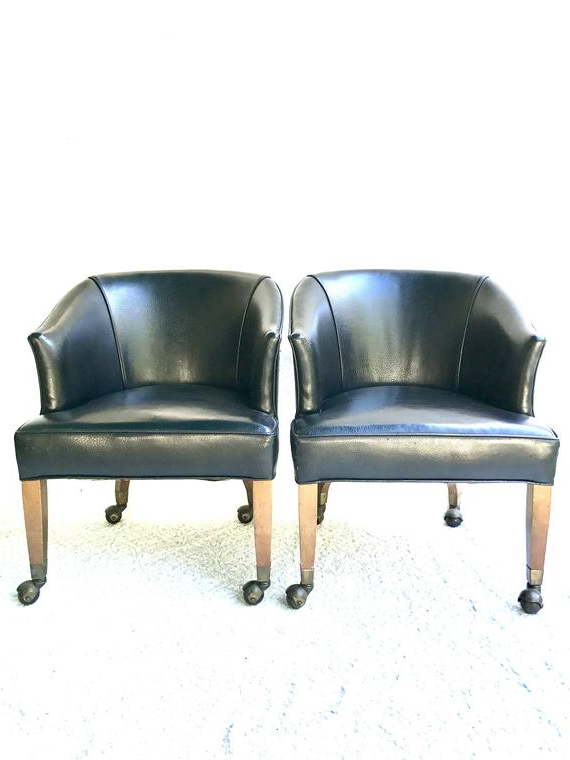 Vintage Black Rolling Club Chairs | Black Faux Leather Arm Chairs | Black Barrel Back Chairs On Wheels| Mid Century Club Chairs| Brass Tacks Regarding Montenegro Faux Leather Club Chairs (View 7 of 20)