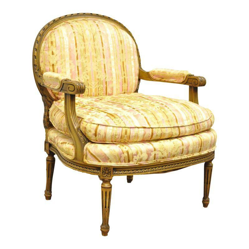 Vintage French Louis Xvi Style Carved Walnut Bergere Boudoir Intended For Harmoni Armchairs (View 11 of 20)