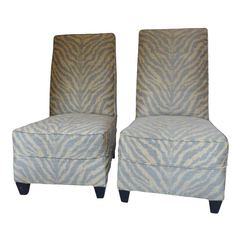 Vintage Modern Zebra Stripe Upholstered Slipper Chairs – A For Daleyza Slipper Chairs (View 8 of 20)