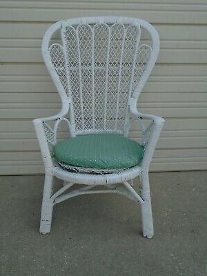 Vintage Natural Wicker Peacock Side Chair Shabby Chic Regarding Easterling Velvet Slipper Chairs (View 20 of 20)