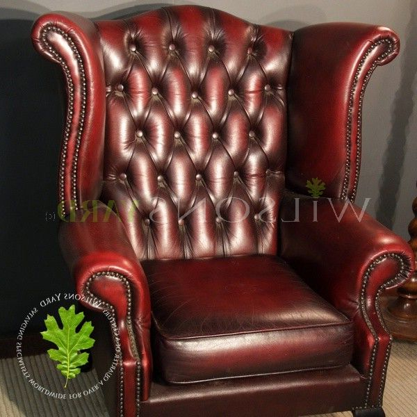 Vintage Red Leather Wingback Chair In Busti Wingback Chairs (View 9 of 20)