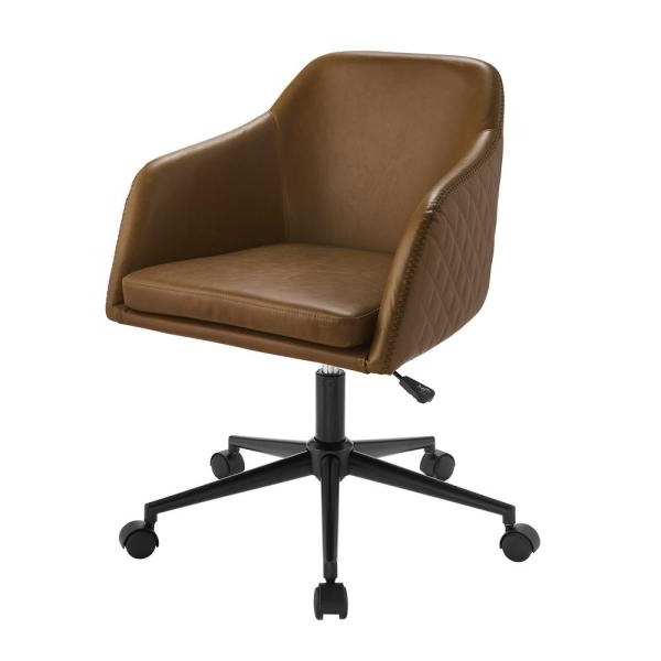 Welwick Designs Whiskey Brown Faux Leather Swivel Barrel Intended For Faux Leather Barrel Chairs (View 20 of 20)